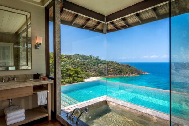 Four Season Resort Seychelles TUI Hotel Blog Fernreise Strand Meer Seychellen Ausblick Hotelzimmer Privatpool