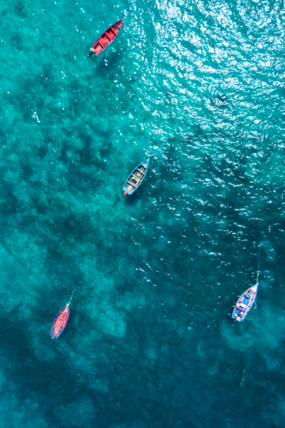 Aerial view Traditional fisher boat in Santa Maria in Sal Isla